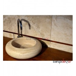TRAVERTEN SİLİNDİR LAVABO